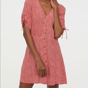 H&M red and white small floral print circle dress